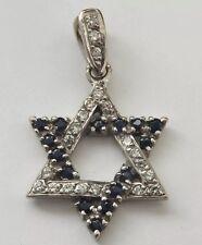 AUTHENTIC 18CT GOLD PENDANT BLUE SAPPHIRES BRILLIANT CUT DIAMOND STAR SHAPED