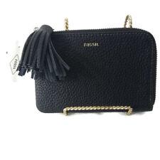 Fossil Women's Wristlet Wallet Genuine Grain Leather Tara Wallet Black NWT $65