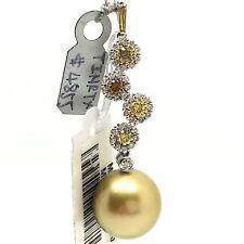 18K Multi-Color Natural Diamond and Golden South Sea Pearl Pendant 12.8MM June