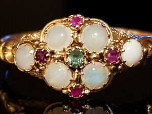 Sufferagette 22ct Gold Ring Amethyst Emerald Opal Uk Q US 8 EU 58