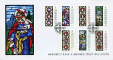 Alderney 2015 FDC Christmas Anne French Stained Glass Windows 7v Set Cover