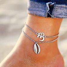 Fußkette Muschel Silber Fußkettchen Boho Indien Shell Doppel