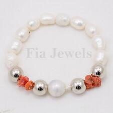 Bracciale Elasticizzato Perle Bianche e Corallo Naturale Gioielli Preziosi
