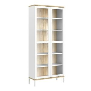 Classic Design Display Cabinet Glazed 2 Doors in White and Oak W89 x H203 x D36