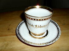 Ivory Cup & Saucer Set Wide Gold Bands in & out .. Frederick Abbenseht...REDUCED