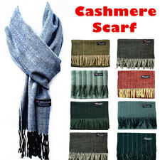 Womens Mens Winter 100% Cashmere Wool Scarf Scotland Made Striped Plain Scarves