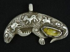 """ANTIQUE EARLY 20c. TIBETAN STERLING & AMBER GECKO AMULET PENDANT~ 3.25"""""""