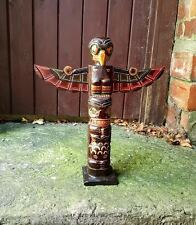 Wooden Totem Pole 40cm Hand Carved Garden Ornament Statue Tribal Native American