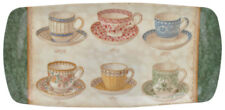 NEW Classic Teacups Design Melamine Baguette Tray
