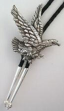 Large Intricate Sterling Silver Eagle Southwestern Bolo Tie