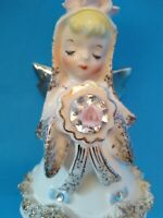 Lefton June Bride Angel Girl Rhinestones Spaghetti Trim Figurine 1987J - AS IS