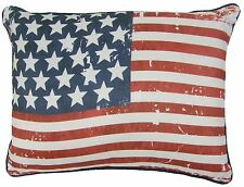 STARS & STRIPES AMERICAN FLAG PIPED RED BLUE WHITE 30X40CM FILLED CUSHION