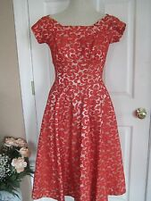 True Vintage 1950's Suzy Perette Red Lace Stunning Party Dress XS X Small Womens