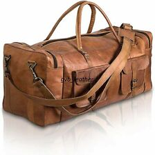New listing Bag adult Leather Real Travel Duffle Luggage Weekend Men Brown Handmade Holdall