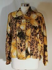 Chico's Light Linen Jacket Vibrant Sunflowers and Leopard Print Pattern sz 2 L