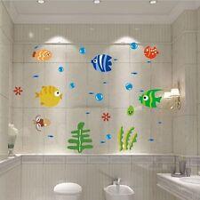 Cute Bubble Cartoon Fish Wall Sticker Bathroom Decor Kids Room DIY Art Decal