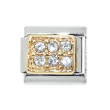 Gold rectangle with CLEAR stones enamel Italian Charm -fits 9mm Classic bracelet