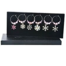 Set of 6 Snowflake Wine Glass Charms Pendant Drink Markers