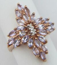 9ct 9Carat Rose Gold Amethyst & Diamond Set Floral Cluster Dress Ring UK Size M
