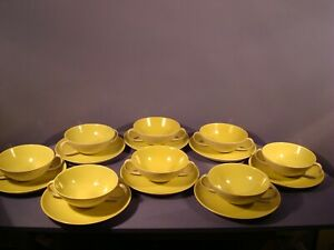 POOLE TWINTONE, LIME YELLOW AND SEAGULL, 8 X SOUP COUPES AND STANDS, 1ST QLTY