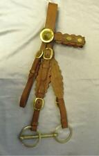 Antique Brown English Leather Shire Horse Bridle And Bit With Brass Detail