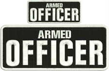 Armed Officer embroidery patch 4X10 and 2x5 hook all  white black background