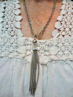 Vintage-1950's Silver Tone Tassel Link Necklace
