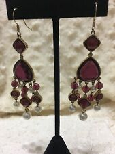 KENNETH JAY LANE, CHANDELIER EARRINGS, CRYSTALS ( Aubergine Color) & PEARL