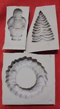 3 piece XL SANTA WREATH CHRISTMAS TREE Candy Cream Cheese Mint Grey Rubber Mold