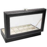 Modern Leather 12 Slot Wrist Men Women Watch Display Box Storage Organizer Store