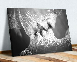 LOVERS KISS CANVAS WALL ART ARTWORK 30MM DEEP FRAMED PRINT BLACK AND WHITE