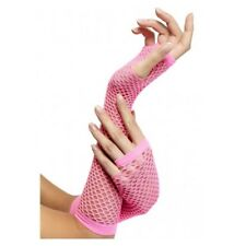 PINK LONG FISHNET GLOVES - PERFECT FOR ANY 80'S COSTUME - COSTUME ACCESSORIES