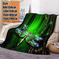 Halloween 3D Dragonfly Printing Plush Fleece Blanket Adult Quilts Washable Home