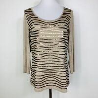 Lafayette 148 New York Sequin Sweater Round Neck size Large