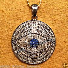 4.27ct Rose Cut Diamond Sapphire Silver Estate Stunning Jewelry Evil Eye Pendant