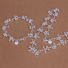 Kette Armband SET mit Trauben Sterlingsilber pl. 925 Halskette 46cm Damen s14b