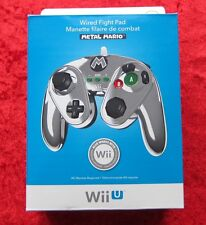 Wired Fight Pad Metal MARIO ORIGINALE NINTENDO WII U CONTROLLER cavo, nuovo OVP
