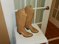 Women's Vintage Sanders Boot Co Tan Leather Handcrafted Cowboy Boots size 5 B