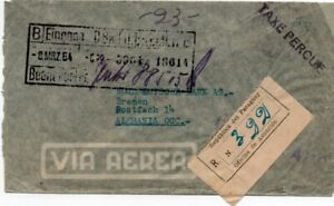 PARAGUAY: Registered airmail to Germany 1954. Postage due. Arr.canc.