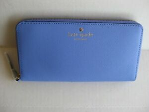 Kate Spade Lacey Mikas Pond Zip Around Leather Wallet Clutch Blue  NWT