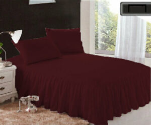 """1 Piece 800tc Egyptian Cotton Bottom Ruffle Bed Spread 20"""" drop all size & color"""