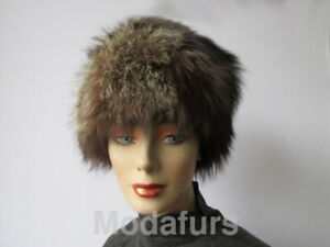"""Women's Sz 22"""" Silver Fox Fur Hat MINT"""