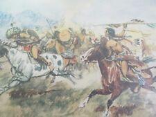 Western Art Indians on Horseback Artist C M Russell Signed Unframed Print