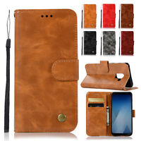 For Samsung S9 S9 plus A8 2018 Retro PU Leather Case Card Slot Wallet Flip Cover