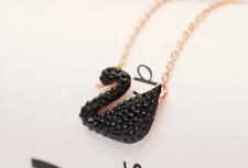 Black Swan Pendant With Rose Gold long Necklace with Gift Box Lover Gifts