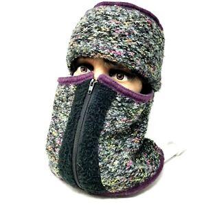 hat Womens outdoor detachable neck scarf face cover zipper close multi color