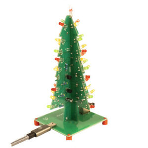 LED Christmas Tree Kit Easy Soldering + English Instructions USB Powered