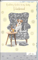 HUSBAND BIRTHDAY CARD****Jack Russel dog,beer**LUXURY***LARGE 7 X 11 INCH (S4)