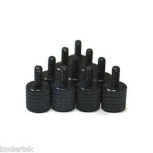 Black Anodized Aluminum Thumb Screws, 10pcs, 6-32 Thread, For PC Case / Computer