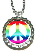 COLORFUL PEACE SIGN BOTTLE CAP NECKLACE (CAP041a)